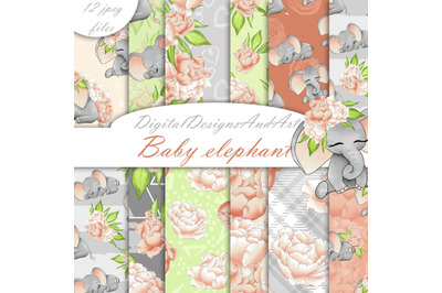 Baby elephant pattern in peach