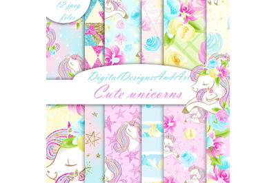 Cute unicorns digital paper