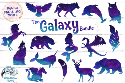 Space Galaxy Animal Clipart | Night Sky | Unicorn | Mermaid | Wolf