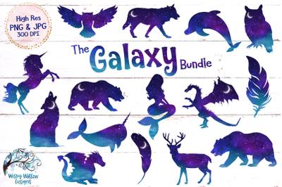 Space Galaxy Animal Clipart | Night Sky | Unicorn | Mermaid | Wolf