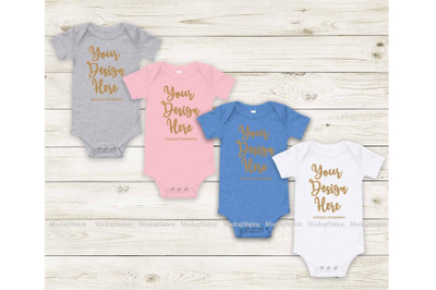 Matching Newborn Blank Baby Bodysuit Mock Up, Infant Pink White Mockup