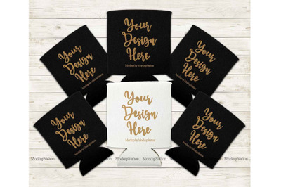Bride Can Coolers Mockup, Black White Can Holder Flat Lay