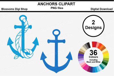 Anchor Clipart, multi colours, 72 PNG files