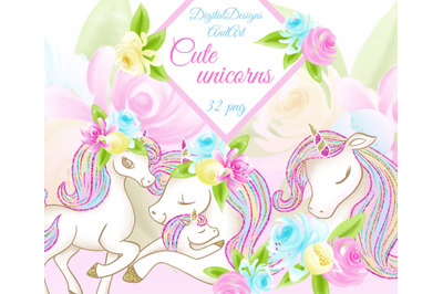 Cute unicorns clipart
