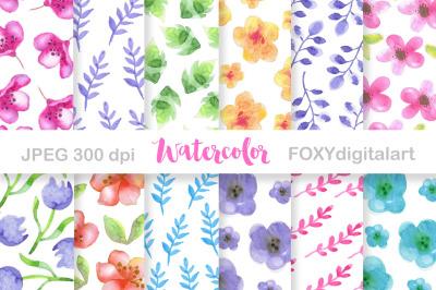 Watercolor Flowers Digital Paper Scrapbook