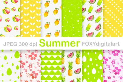 Summer Holiday Tropical Digital Paper Pack