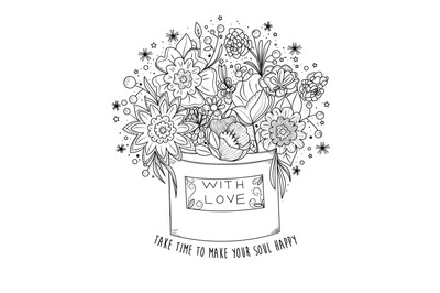 Digital coloring book page, flowers in a box