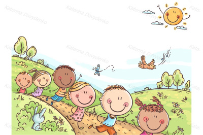 Happy kids running outdoors on a summer day
