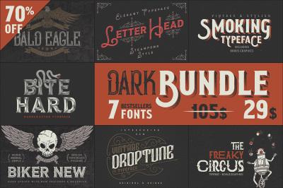 Dark Bundle: 7 Bestseller Fonts