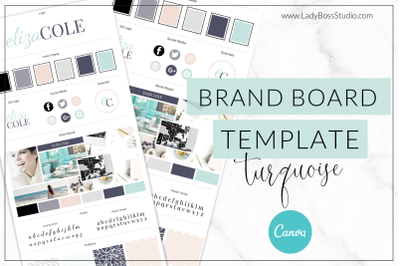 Canva Turquoise Brand Board Template