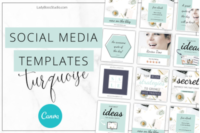 Canva Turquoise Social Media Templates