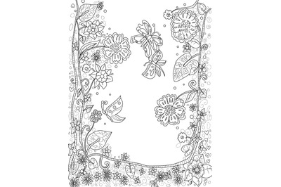 Digital coloring book page, flowers and butterflies