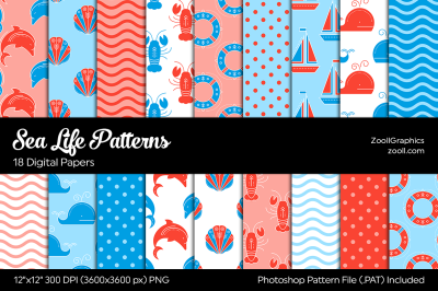 Sea Life Digital Papers - Red & Blue