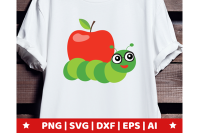 Apple worm SVG - Apple worm clipart - book worm vector