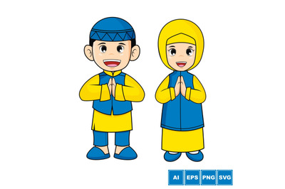 Moslem Kid - Cartoon Vector Illustration