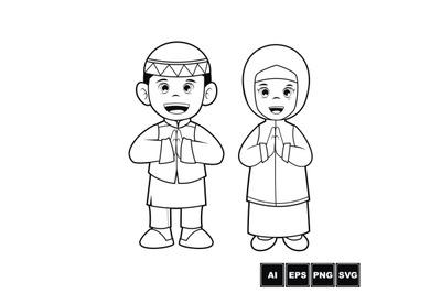 Moslem Kid - Cartoon Vector Line Art