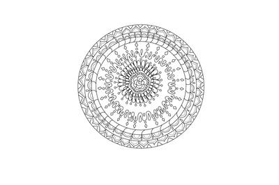 Digital coloring book page, hand drawn mandala design