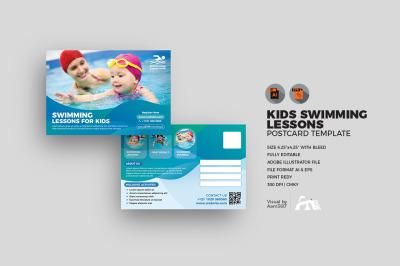 Kids Swimming Postcard Template