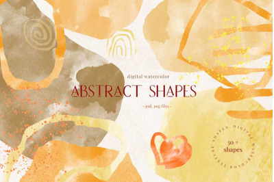 Abstract digital watercolour shapes, creative graphic set