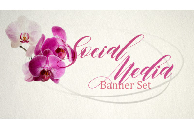 Set of premade social media template banners with copy space. 5 Orchid