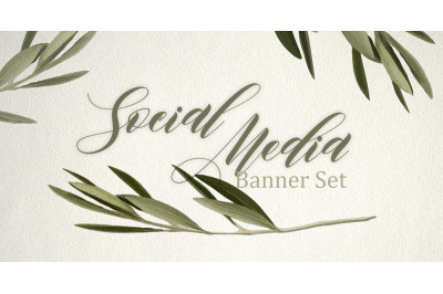 Set of premade social media template banners. 5 Olive tree backgrounds