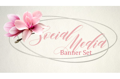 Set of premade social media template banners with copy space.Magnolia