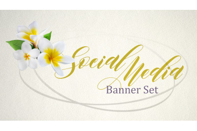 Plumeria flower Set of premade social media template banners with spac
