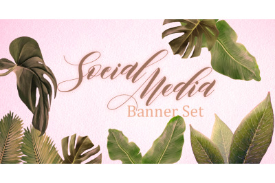Set of premade social media banners with copy space and green leaves.
