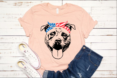 Pit bull USA Bandana United States Flag patriotic puppy Pitbull 1393s