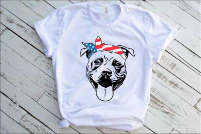 Pit bull USA Bandana merica 4th july patriotic puppy Pitbull 1390s