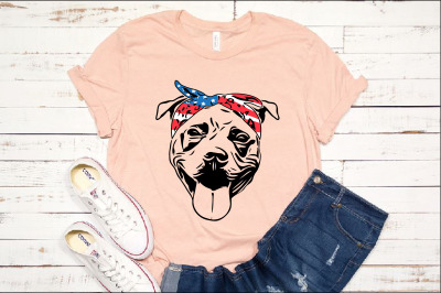 Pit bull USA Bandana merica 4th july patriotic puppy Pitbull 1389s