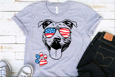 Pit bull USA Flag Glasses Paw merica 4th july patriotic Pitbull 1388s