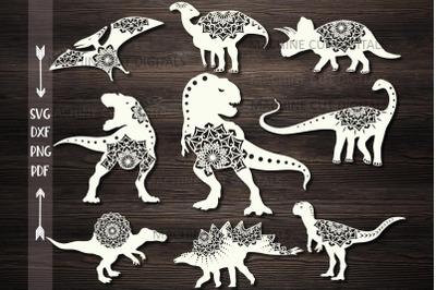 Mandala Floral Dinosaurs Bundle cut out templates svg dxf pdf