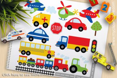 Trains, Cars, Planes, Trucks Vector Clipart