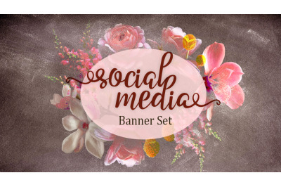 Set of premade social media template banners with copy space and boho