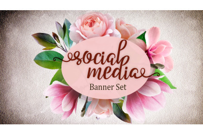 Set of premade social media template banners with boho flowers