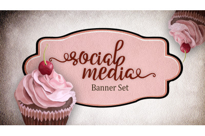 Premade social media template banners with copy space and cupcake