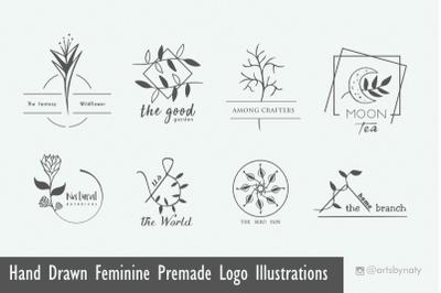 Hand Drawn Feminine Premade Logo Illustrations