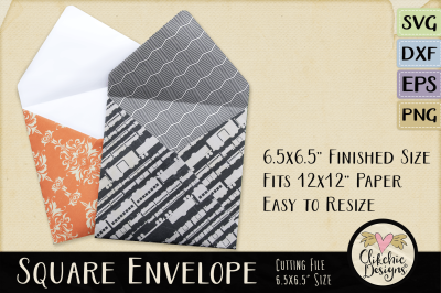 Square Envelope SVG Cutting File Template, DXF, PNG, EPS