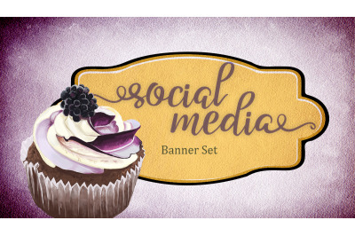 Set of premade social media template banners with cupcake
