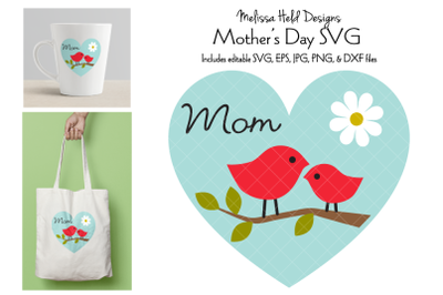 Mothers Day Graphic with Birds on Branch