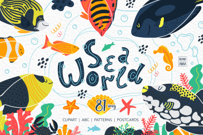 Sea world vector clipart, alphabet, patterns, cards
