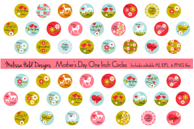 Mothers Day One Inch Circles
