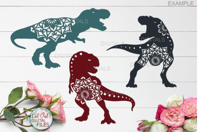 Mandala T rex dinosaurs bundle cut out svg paper laser cut file