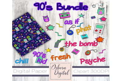 90's Kid digital paper and clipart