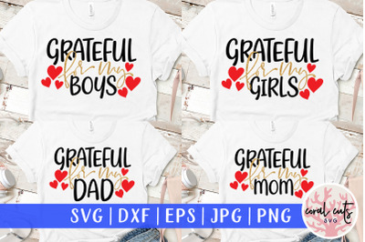 Grateful For My Family Bundle - Mother SVG EPS DXF PNG Cutting File