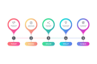 Step infographic. 5 options timeline flow chart, business graphic elem
