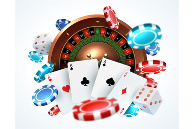 Playing cards poker chips. Falling dice online casino gambling realist