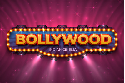 Bollywood background. Indian cinema poster with text and spot light, I