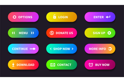 Gradient action button. Shop download banner&2C; flat oval interface&2C; web